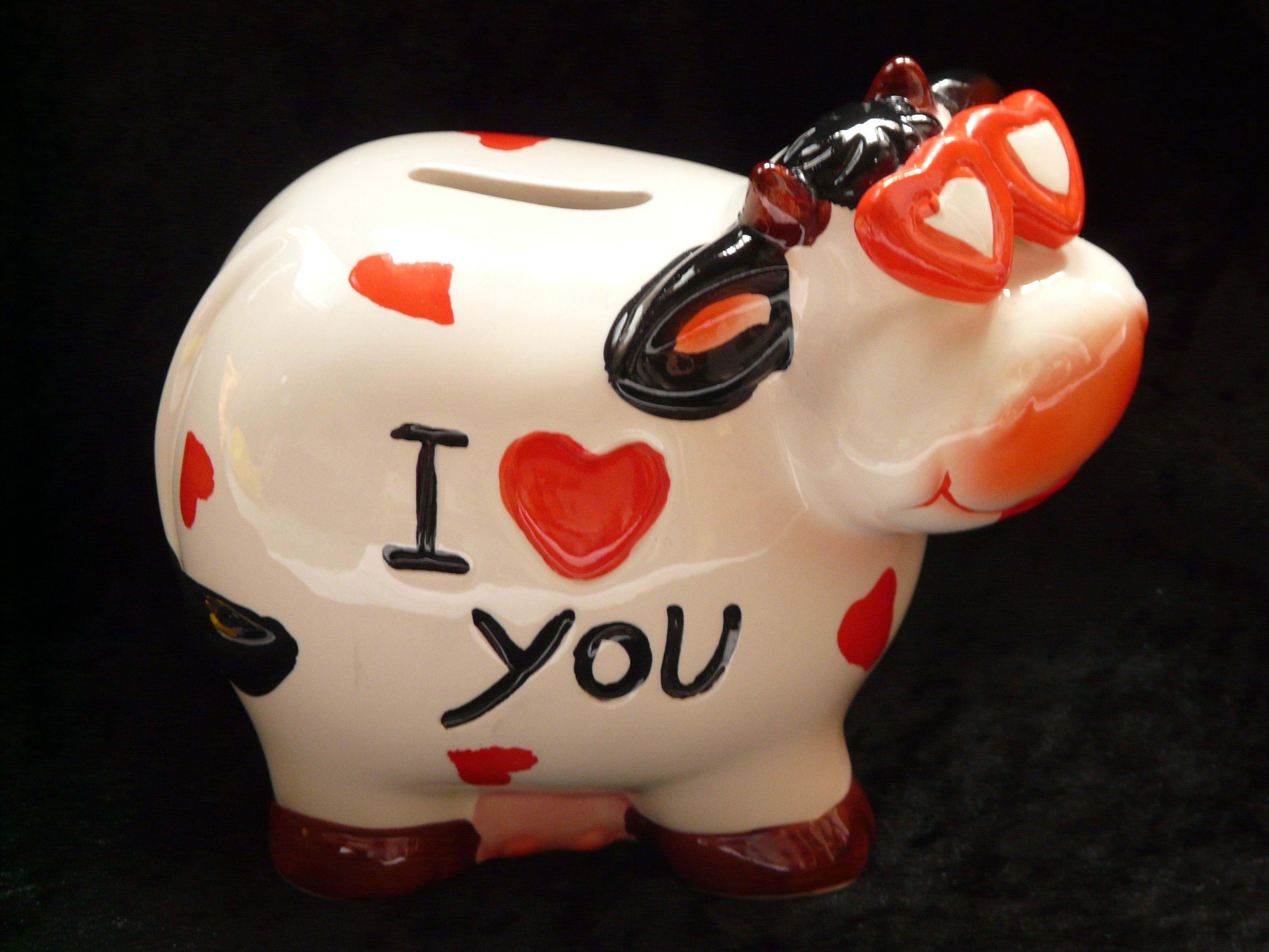 En spareko med 'I love you' skrevet på siden